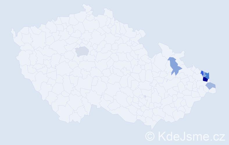 Příjmení: 'Lajczyková', počet výskytů 22 v celé ČR