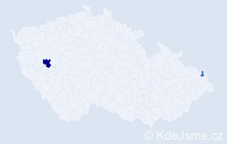 Příjmení: 'Kuhajda', počet výskytů 6 v celé ČR