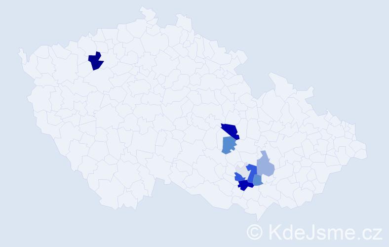 Příjmení: 'Hrušat', počet výskytů 16 v celé ČR