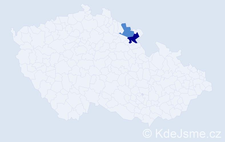 Příjmení: 'Elekeš', počet výskytů 3 v celé ČR