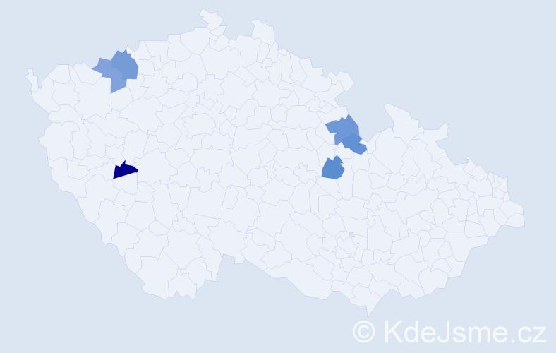 Příjmení: 'Ktodová', počet výskytů 7 v celé ČR