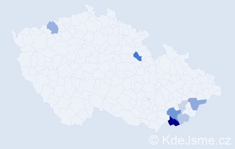Příjmení: 'Latina', počet výskytů 18 v celé ČR