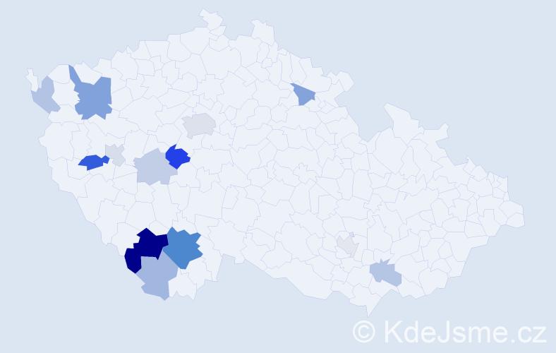 Příjmení: 'Hondlík', počet výskytů 31 v celé ČR