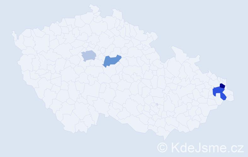 Příjmení: 'Bobošíková', počet výskytů 9 v celé ČR