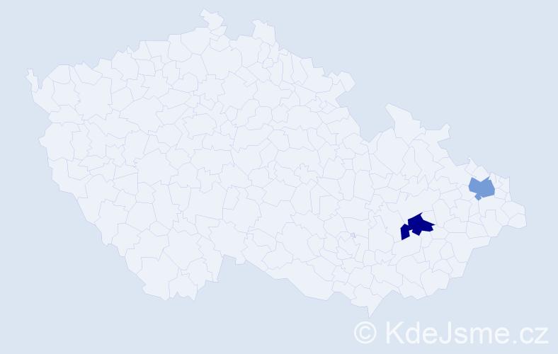 Příjmení: 'Hluzín', počet výskytů 13 v celé ČR