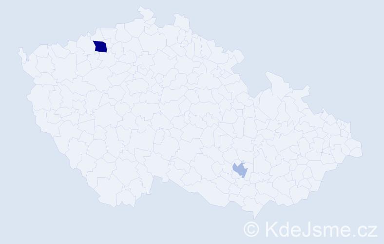 Příjmení: 'Fitzeková', počet výskytů 3 v celé ČR