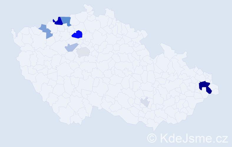 Příjmení: 'Dovhun', počet výskytů 20 v celé ČR
