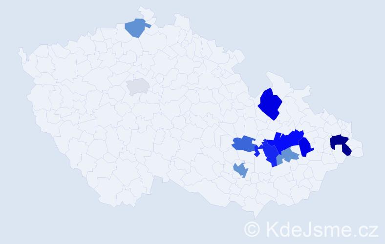 Příjmení: 'Frainšic', počet výskytů 18 v celé ČR