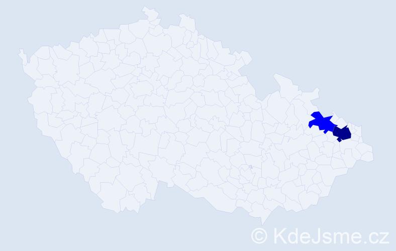 Příjmení: 'Bamhor', počet výskytů 4 v celé ČR