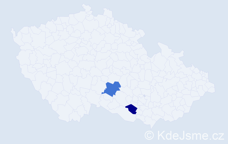 Příjmení: 'Badín', počet výskytů 3 v celé ČR