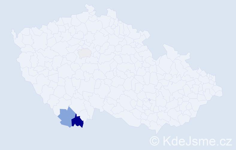 Příjmení: 'Konias', počet výskytů 4 v celé ČR
