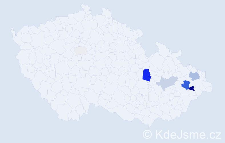 Příjmení: 'Koblovský', počet výskytů 24 v celé ČR