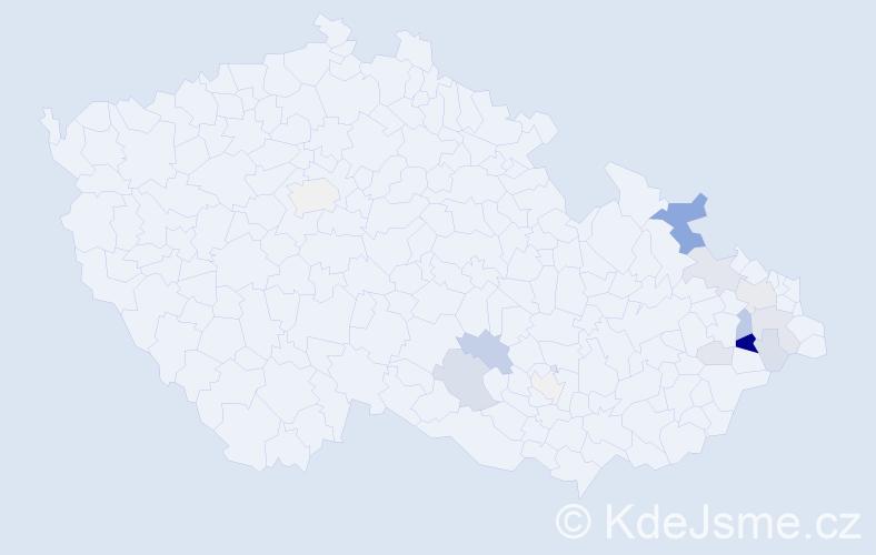 Příjmení: 'Kuřecová', počet výskytů 46 v celé ČR