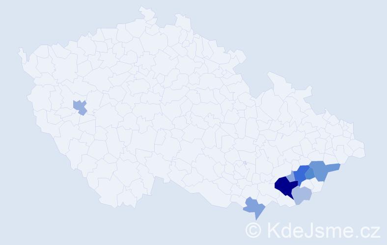 Příjmení: 'Kegler', počet výskytů 27 v celé ČR