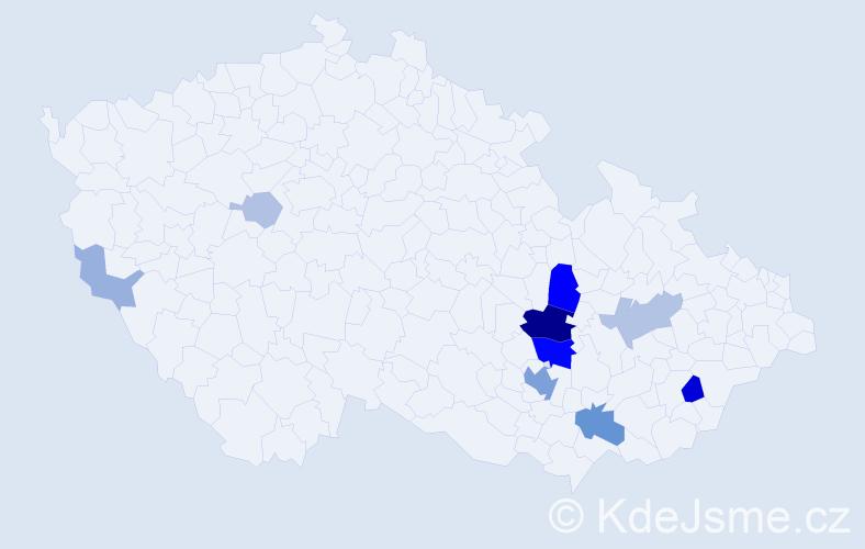 Příjmení: 'Huzlík', počet výskytů 34 v celé ČR