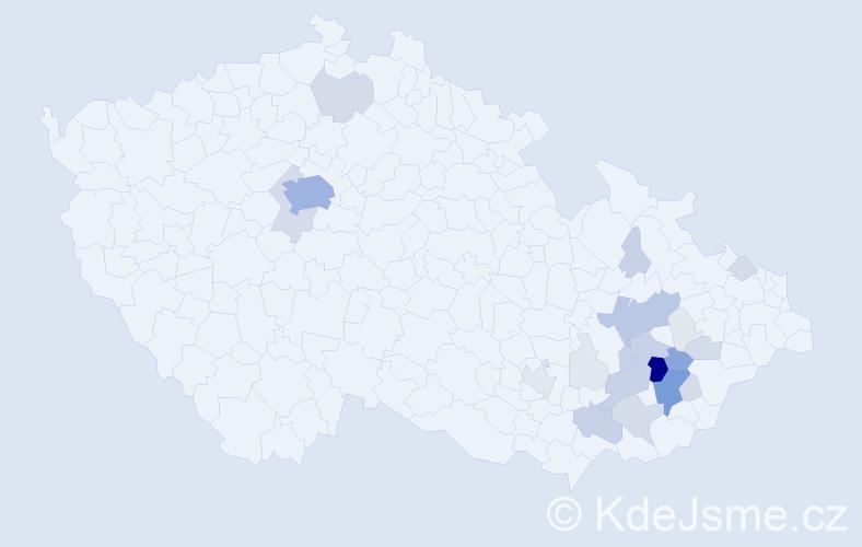 Příjmení: 'Barotová', počet výskytů 92 v celé ČR