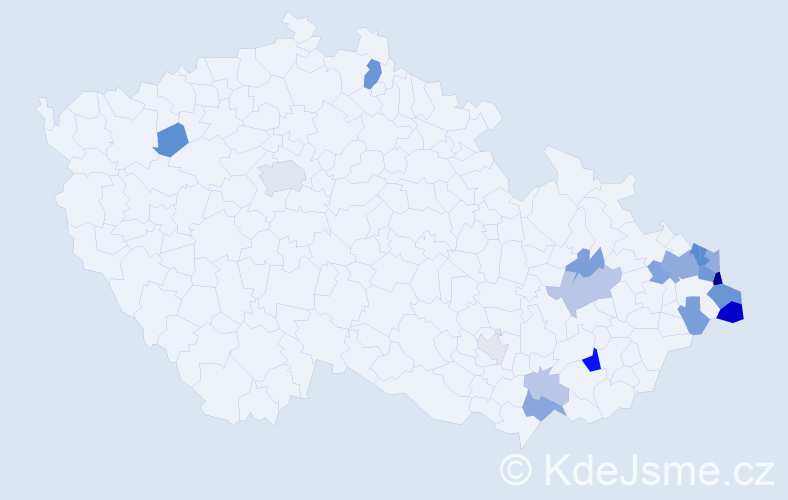 Příjmení: 'Chlebíková', počet výskytů 47 v celé ČR