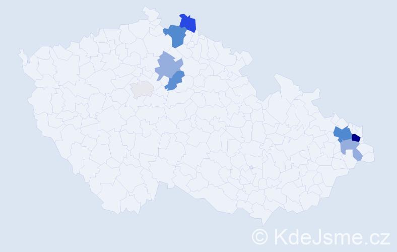 Příjmení: 'Gajdáčková', počet výskytů 19 v celé ČR