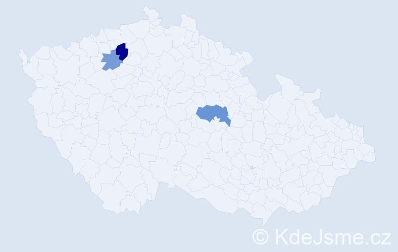 Příjmení: 'Ernigr', počet výskytů 5 v celé ČR