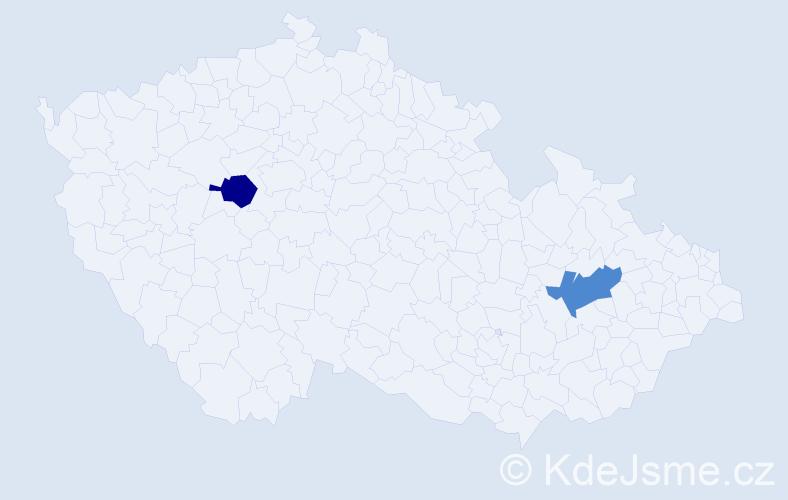 Příjmení: 'Izbická', počet výskytů 5 v celé ČR
