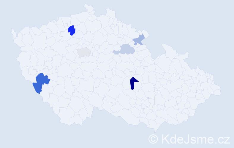 Příjmení: 'Kuchárik', počet výskytů 11 v celé ČR