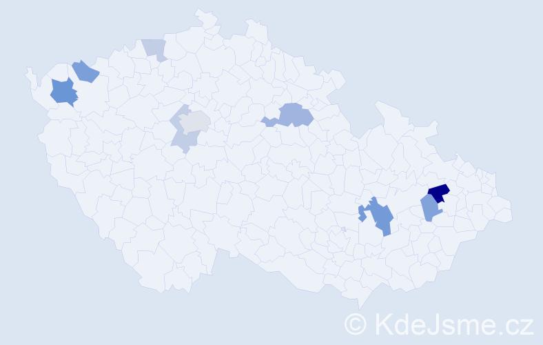 Příjmení: 'Bálešová', počet výskytů 17 v celé ČR