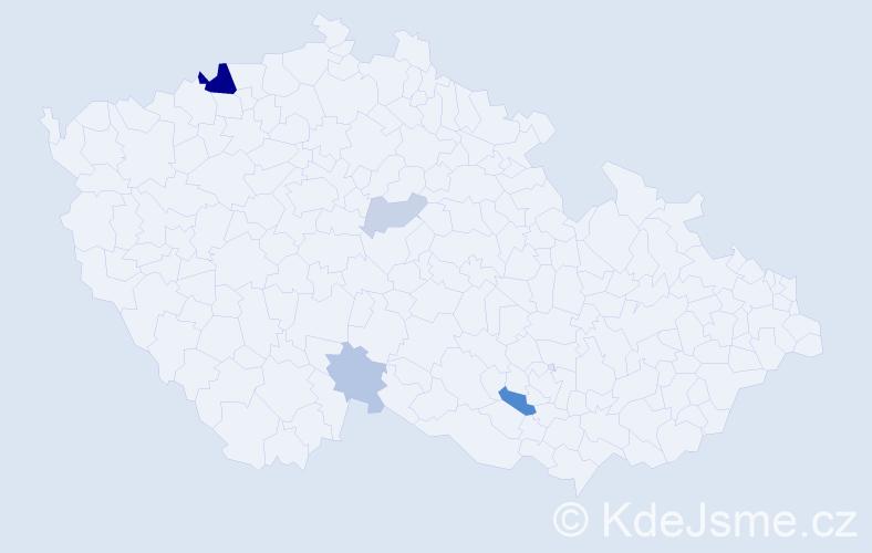 Příjmení: 'Ibošová', počet výskytů 11 v celé ČR