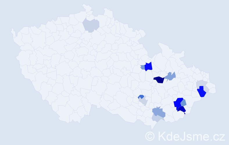 Příjmení: 'Hustá', počet výskytů 37 v celé ČR