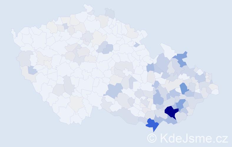 Příjmení: 'Bartošíková', počet výskytů 574 v celé ČR