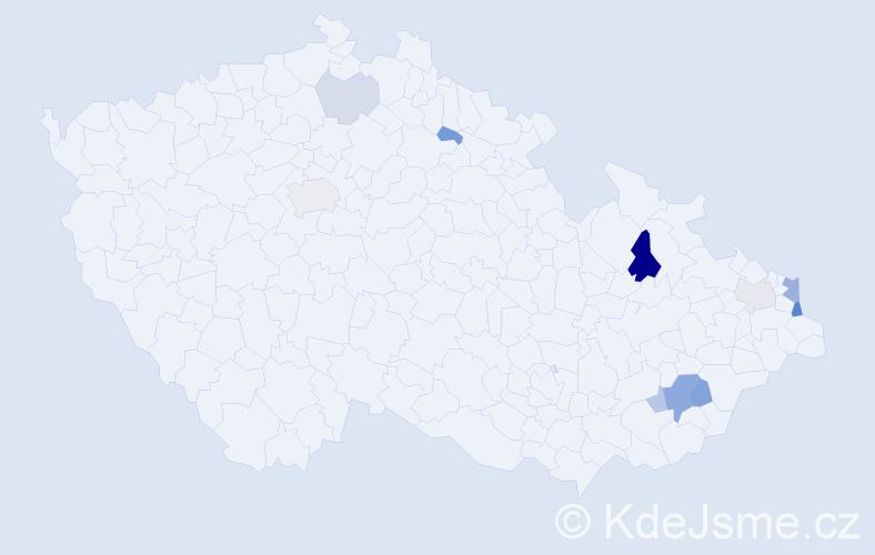 Příjmení: 'Kladníčková', počet výskytů 21 v celé ČR