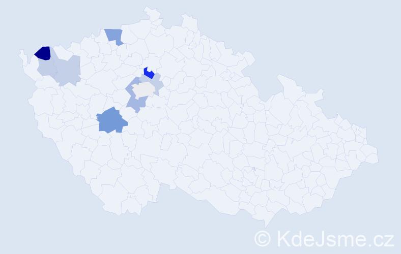 Příjmení: 'Jarosilová', počet výskytů 17 v celé ČR