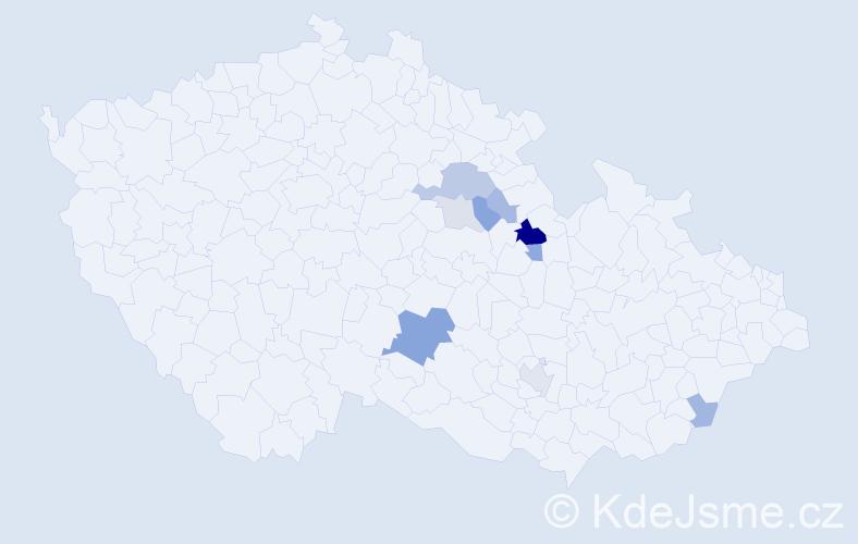 Příjmení: 'Aliger', počet výskytů 22 v celé ČR