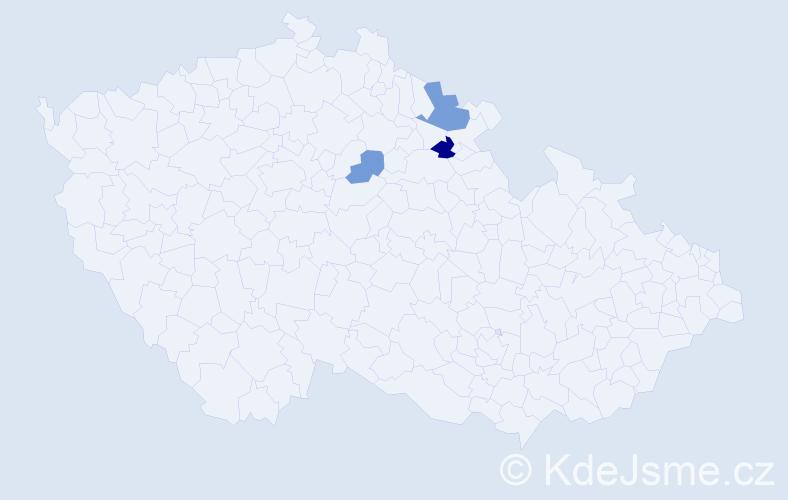 Příjmení: 'Čibčala', počet výskytů 5 v celé ČR