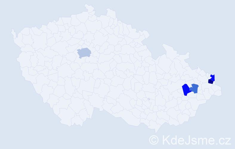 Příjmení: 'Fabšíková', počet výskytů 10 v celé ČR