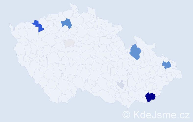 Příjmení: 'Bania', počet výskytů 18 v celé ČR