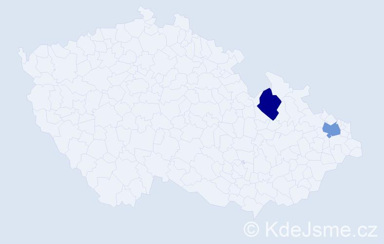 Příjmení: 'Andrísek', počet výskytů 2 v celé ČR