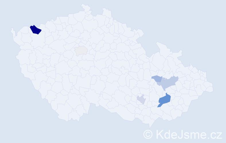 Příjmení: 'Dambor', počet výskytů 25 v celé ČR