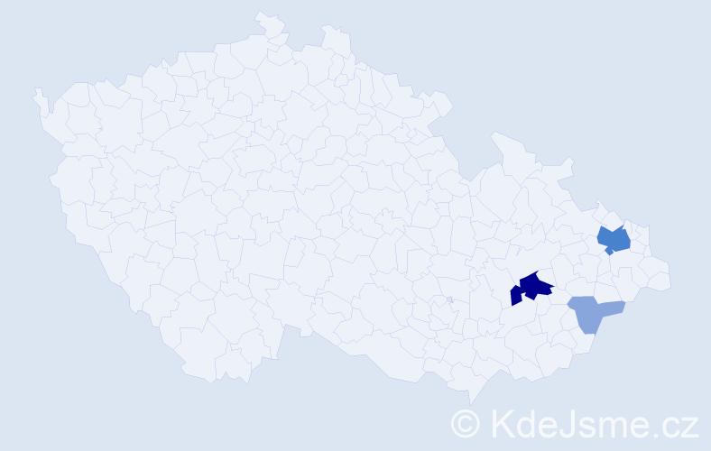 Příjmení: 'Heryanová', počet výskytů 13 v celé ČR