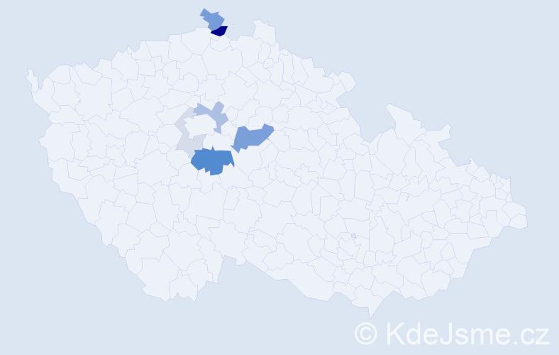 Příjmení: 'Jetýlek', počet výskytů 18 v celé ČR