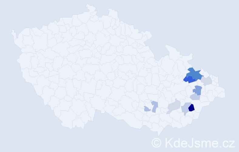 Příjmení: 'Imrýšková', počet výskytů 28 v celé ČR