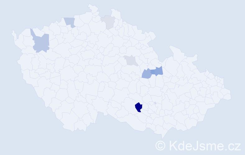 Příjmení: 'Hasiček', počet výskytů 12 v celé ČR