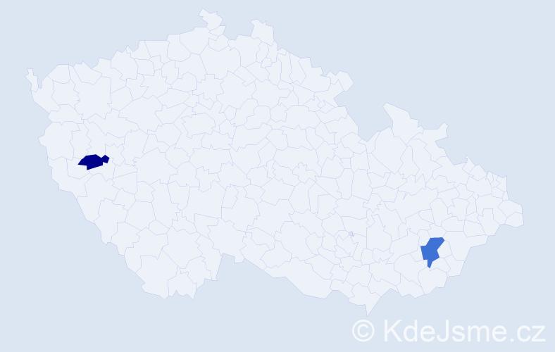 Příjmení: 'Kledrovec', počet výskytů 3 v celé ČR