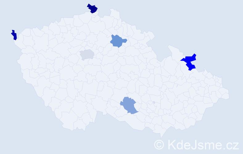 Příjmení: 'Lászlóvá', počet výskytů 9 v celé ČR