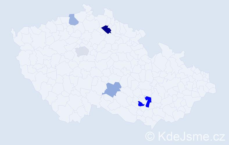 Příjmení: 'Canová', počet výskytů 9 v celé ČR