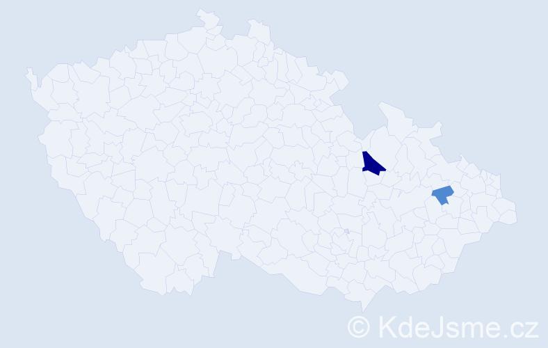 Příjmení: 'Knižátek', počet výskytů 5 v celé ČR