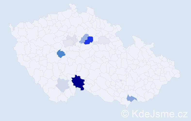 Příjmení: 'Konhefr', počet výskytů 39 v celé ČR