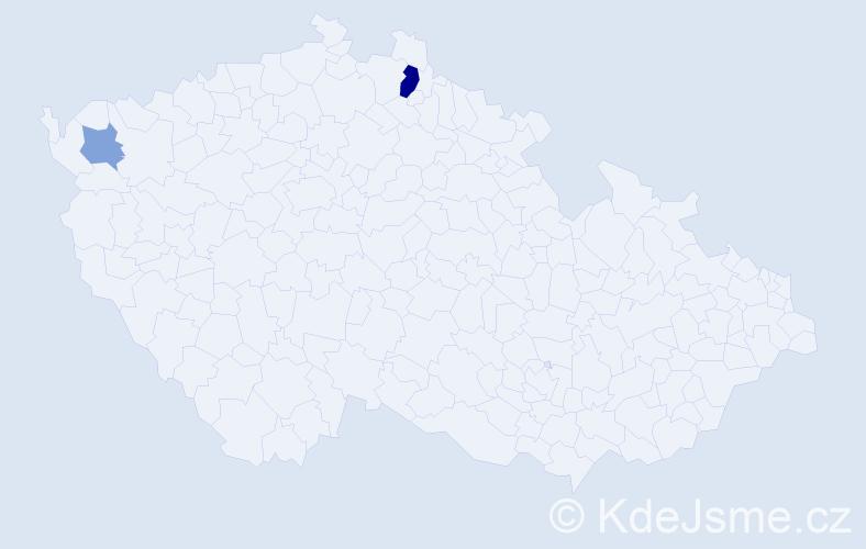 Příjmení: 'Badstieberová', počet výskytů 4 v celé ČR