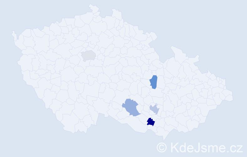 Příjmení: 'Botoňková', počet výskytů 7 v celé ČR