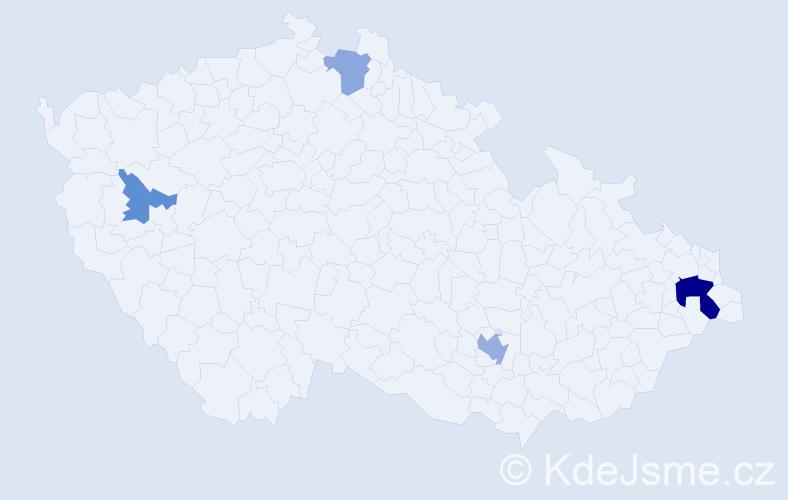 Příjmení: 'Koňuchová', počet výskytů 8 v celé ČR