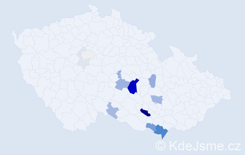 Příjmení: 'Leskourová', počet výskytů 45 v celé ČR